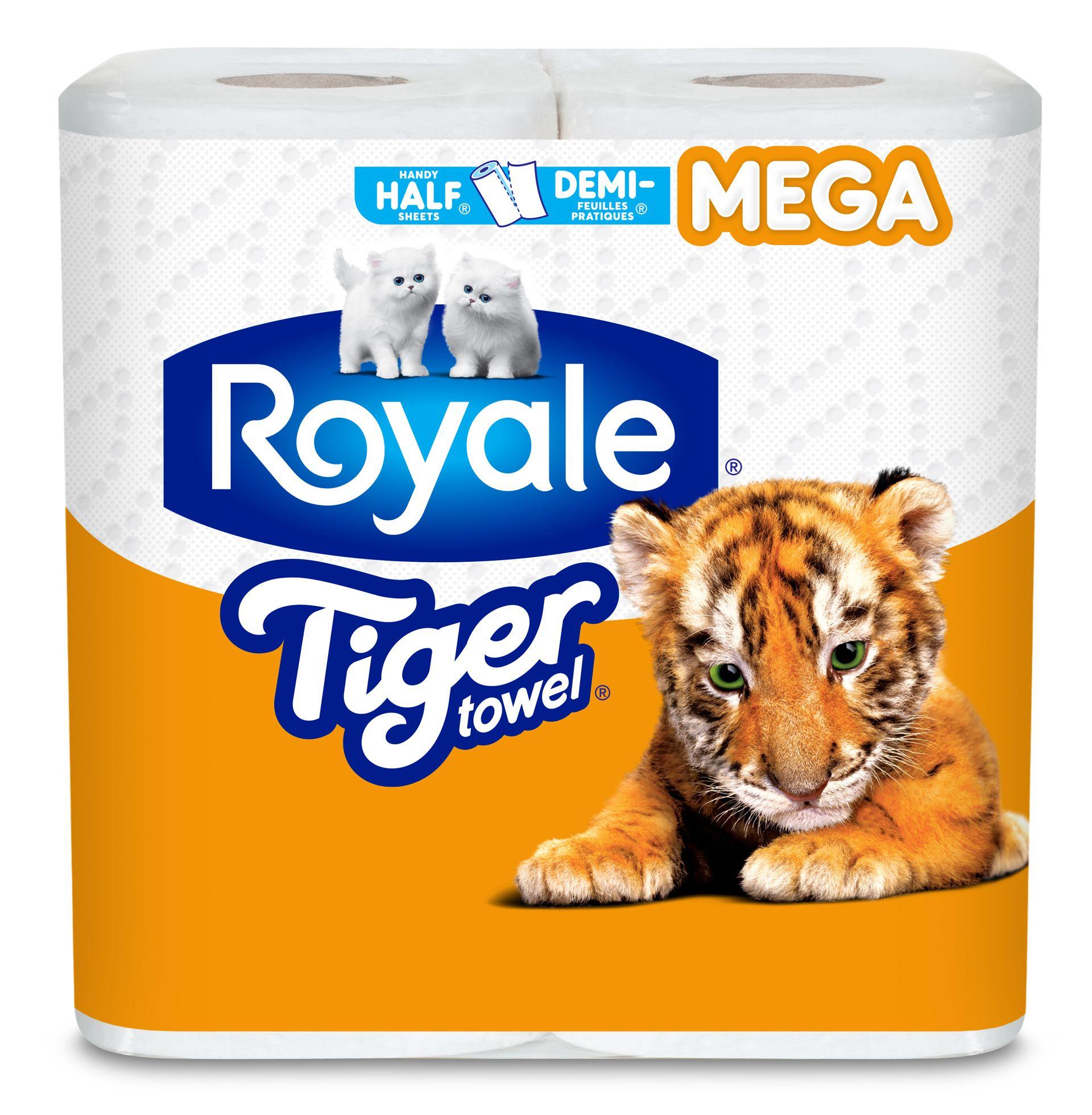 ROYALEMD Tiger TowelMD en Demi-feuilles pratiquesMD, rouleaux mega pack
