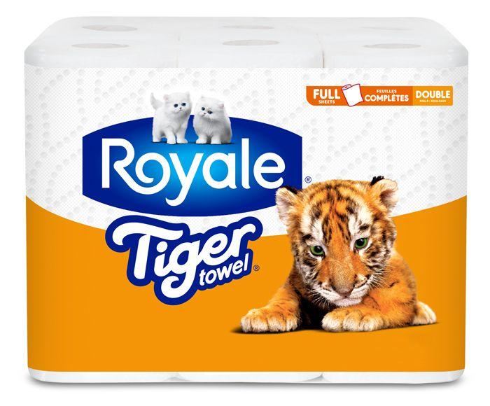ROYALE® Tiger Towel® en feuilles complètes, rouleaux doubles pack