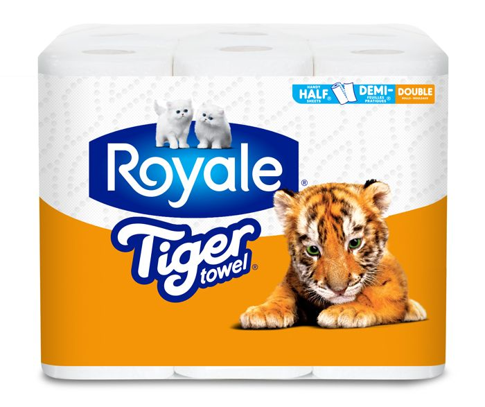ROYALE® Tiger Towel® Handy Half Sheets® Double Rolls pack