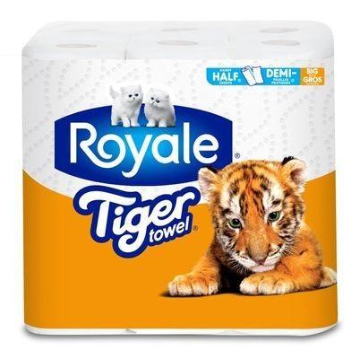 ROYALE® Tiger Towel® en Demi-feuilles pratiques®, gros rouleaux