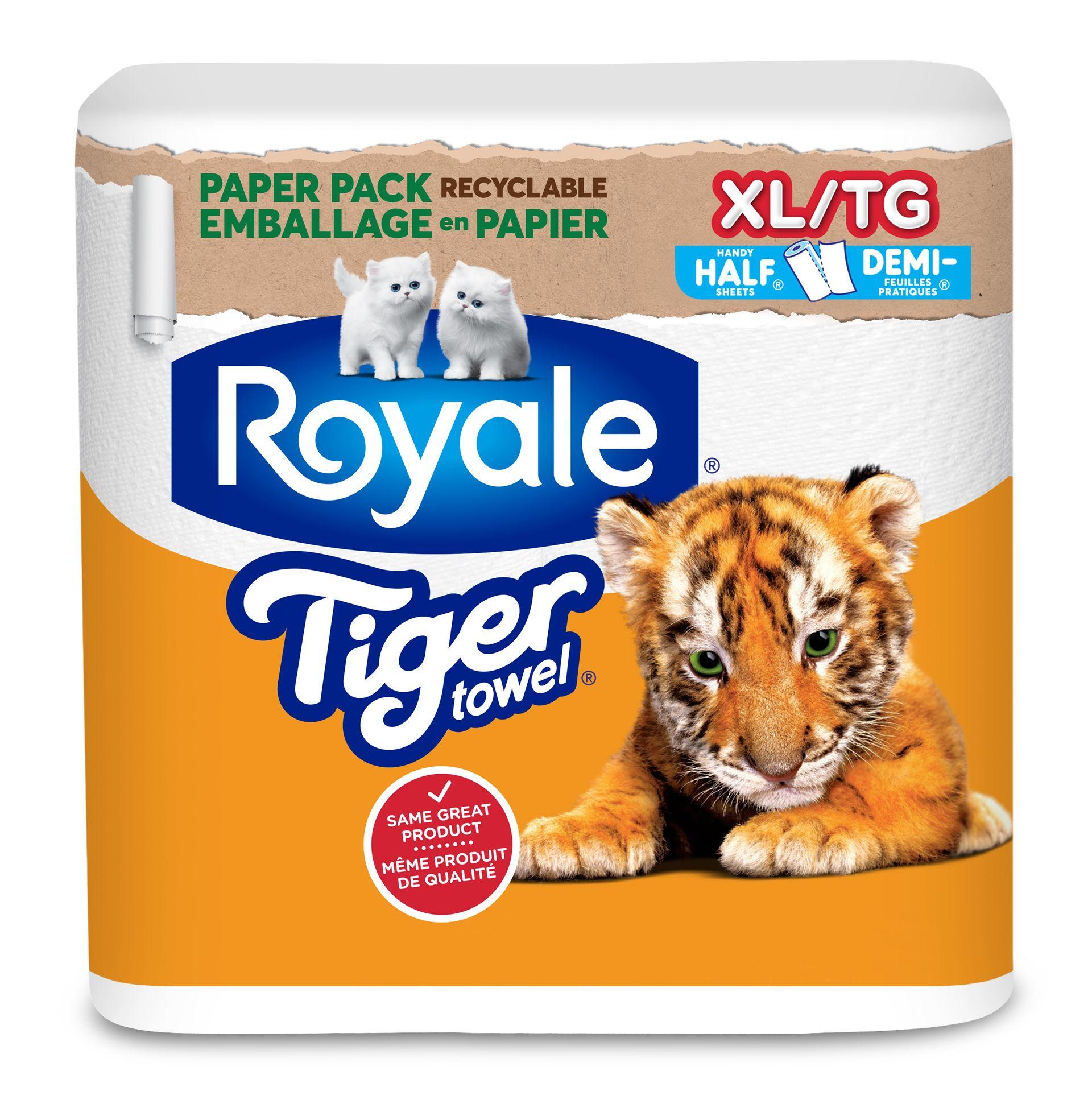 ROYALE® Tiger Towel® Regular Rolls: Handy Half Sheets®
