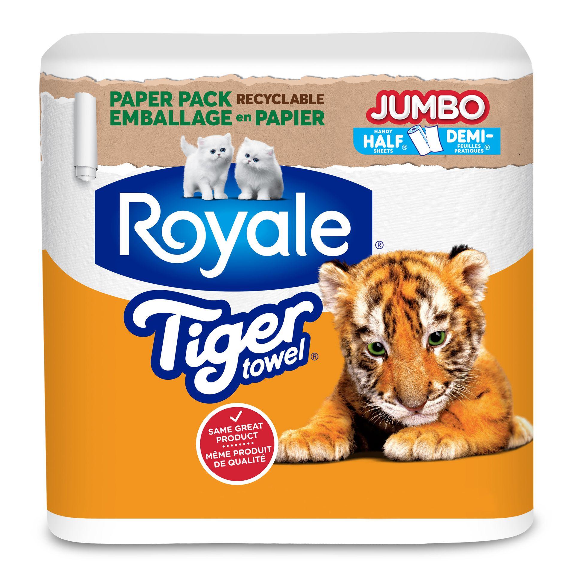 Emballage en papier ROYALE® Tiger Towel® en rouleaux Jumbo de Demi-feuilles pratiques pack